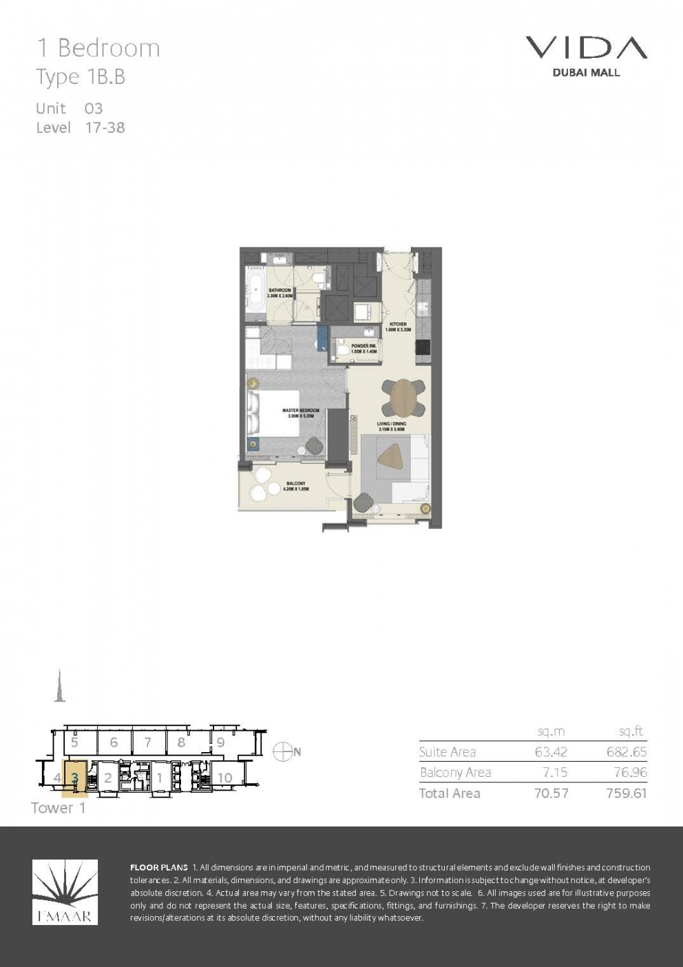 Vida Dubai Mall - Floor Plans T1 Page 03